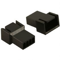 Pack of 2 Male 4 Pin Black Fan Connectors With Crimps